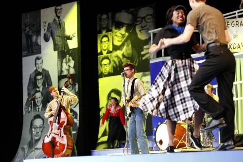 Jeff Giles as Buddy Holly (centre)  in Rainbow Stage's 2013 production of Buddy, The Buddy Holly Story at the media preview Friday. The production  runs June 11-July 4.  (WAYNE GLOWACKI/WINNIPEG FREE PRESS) Winnipeg Free Press June 7 2013