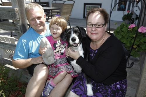 June 8, 2013 - 130608  - Angie and Ray Stephenson with dog Molly and 2 year old daughter Amelia with a teddy bear first responders gave her after their car was broadsided by a driver who ran a red light. Photographed at their home Saturday, June 8, 2013. John Woods / Winnipeg Free Press