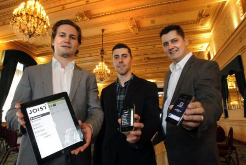 From left, Justin Kathan and Brendon Sedo co-founders of Joist  and Dustin Refvik, founder of Scheduleaide participated in the Manitoba Venture Challenge that took part in the Fort Garry Hotel Wednesday. Geoff Kirbyson story. (WAYNE GLOWACKI/WINNIPEG FREE PRESS) Winnipeg Free Press June 19 2013