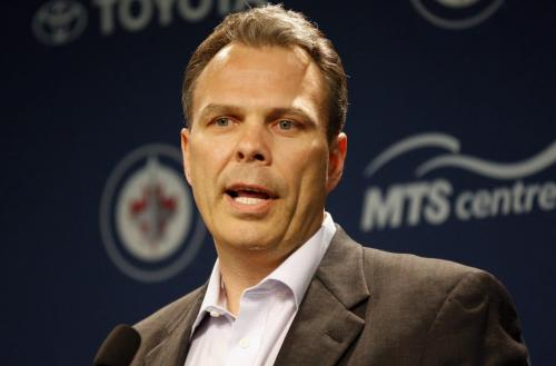 Winnipeg Jets GM Kevin Cheveldayoff  takes a pre draft  availability with reporters to talk about the up coming NHL Draft- at MTS  Centre newser  - KEN GIGLIOTTI / JUNE 24 2013 / WINNIPEG FREE PRESS