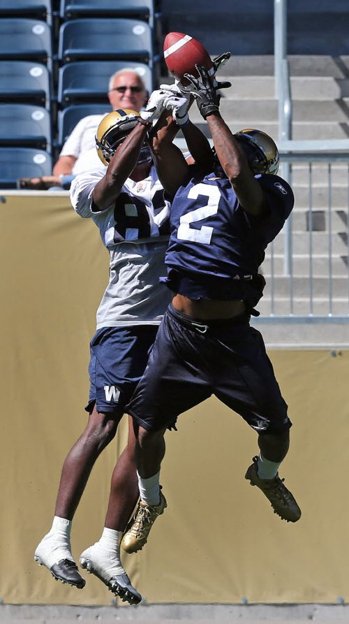 Stdup – Bomber fan has the best seat in the house as  CB #2  Jovon Johnson goes up and knocks a pass away from #82 Terrance Edwards as the Bombers get ready for Hamilton this weekend . KEN GIGLIOTTI / Aug 21 2013 / WINNIPEG FREE PRESS