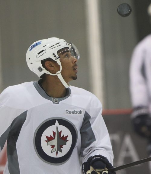 Winnipeg Jets Evander Kane does some fancy stick work with puck at practice with his team at the MTS Iceplex Tuesday-See Paul Wiecek and Gary Lawless stories- Sept 03, 2013   (JOE BRYKSA / WINNIPEG FREE PRESS)