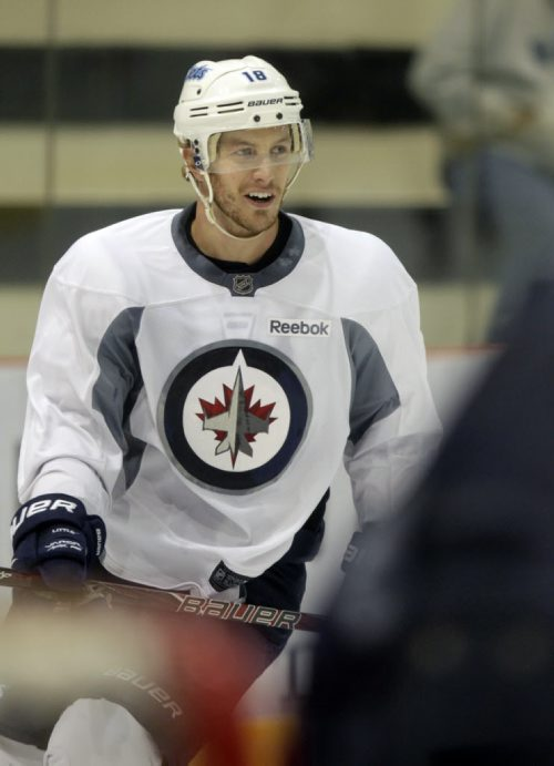 Some Winnipeg Jets players and rookies take part in an informal practice at the MTS Iceplex Wednesday morning.Winnipeg Jets forward #18  Bryan Little at practice. Gary Lawless Story. Wayne Glowacki / Winnipeg Free Press Sept. 4 2013