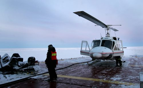 The helicopter on the Canadian Coast Guard Amundsen icebreaker in 2008. Bart Kives was the reporter/ Wayne Glowacki / Winnipeg Free Press March  2008