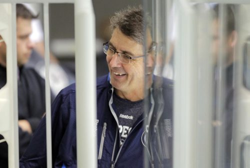 Winnipeg Jets NHL practice at the MTS IcePlex. Head coach Claude Noel. BORIS MINKEVICH / WINNIPEG FREE PRESS. Sept. 16, 2013
