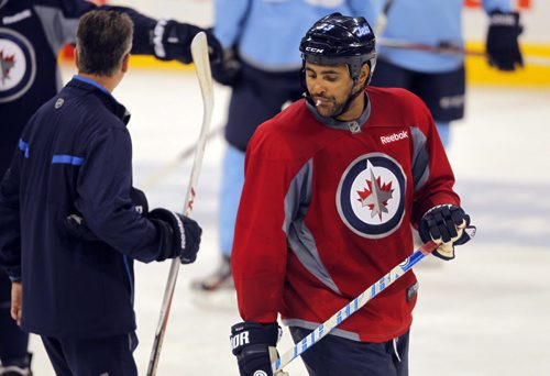 Winnipeg Jets practice at MTS Centre. #33 Dustin Byfuglien. BORIS MINKEVICH / WINNIPEG FREE PRESS. Sept. 20, 2013