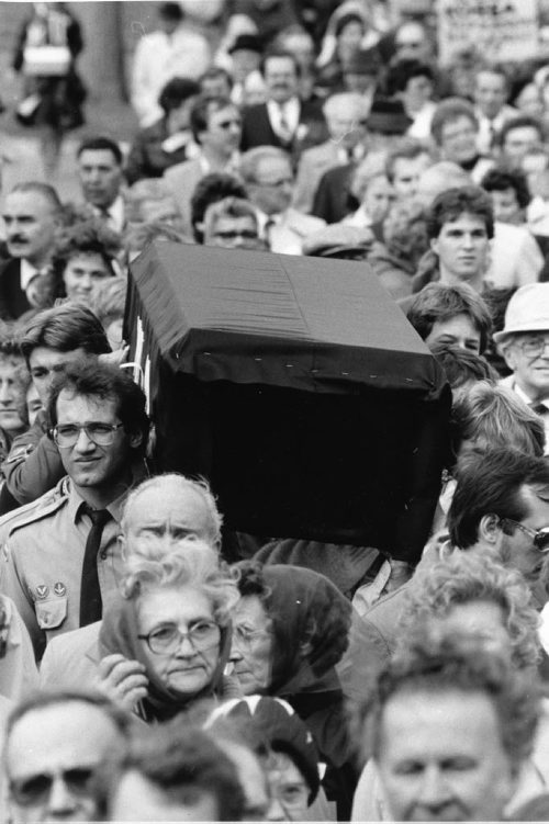 "Winnipeg Free Press Archives October 9, 1983 About 6,000 Ukrainian-Canadians gathered around a black-cloaked coffin outside the legislative building Sunday to mark the 50th anniversary of the famine. The commemorative service, organized by the Ukrainian National Committee, was to bring public attention to what organizers called ""the 20th century's least-known atrocity."" Millions of Ukrainians died of starvation in 1932-33 when food supplies were cut off by the Soviet regime, said Harry Dmytryshyn, chairman of the organizing committee."