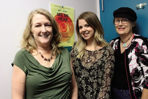 Canstar Community News Oct. 2 -- (From left to right) Susan Lamberd, Cara Mason, and Alice Crawford are all part of the Art + Body: See Me Hear exhibit.