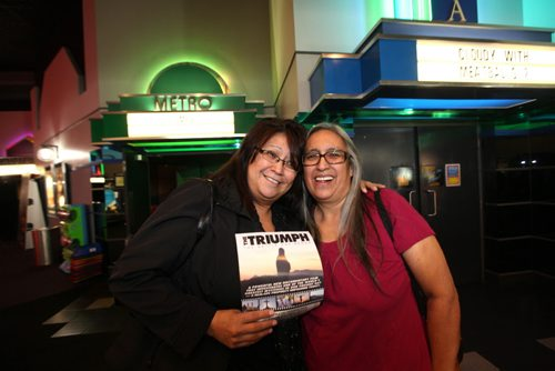 Judith and her daughter  Angela Wood (left)  are all smiles after coming out of the special showing of the movie Triumph at Kildonan Park Theatre Saturday morning.  Ruth Bonneville / Winnipeg Free Press