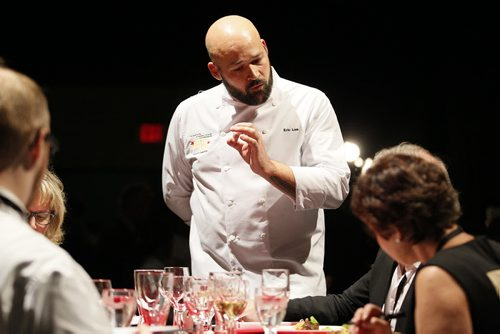 October 25, 2013 - 131025  -    Judges speak to competitor Eric Lee after he entered his appetizer during the Gold Medal Plates competition at the Convention Centre Friday, October 25, 2013. Gold Medal Plates is an annual competition that celebrates Canada's culinary stars while raising funds for the Canadian Olympic Foundation. Eight of Winnipeg's best chefs -- Timothy Palmer (The Velvet Glove), Eric Lee (Pizzeria Gusto), Kelly Cattani  (Elements the Restaurant, by Diversity), Tristan Foucault (Peasant Cookery), Terry Gereta (Mise, Haute Prairie Cuisine), Simon Resch (Terrace in the Park), Michael Schafer (Sydney's at the Forks) and Jason Sopel (Chaise Restaurant & Lounge)-- will be competing John Woods / Winnipeg Free Press