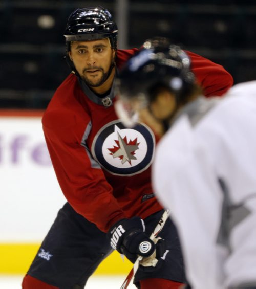 Winnipeg Jets Practice at the MTS Centre – Dustin Byfuglien  Oct. 31 2013 / KEN GIGLIOTTI / WINNIPEG FREE PRESS
