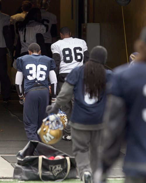 Winnipeg Blue Bombers leave the field after practice at IGF- The team will play their final game of the 2013 season this Saturday against the Hamilton Tiger-Cats-  See Paul Wiecek story- Oct 31, 2013   (JOE BRYKSA / WINNIPEG FREE PRESS)