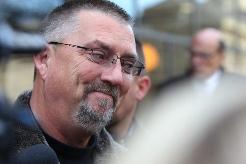 Robert Taman talks to the media outside the Law Courts Building about his disappointment with the ruling that  Ex-police chief Harry Bakema was found not guilty in East St.Paul crash aftermath. See Mike McIntyre. story. November 01,,  2013 Ruth Bonneville / Winnipeg Free Press