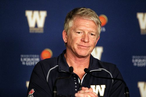 Winnipeg Blue Bombers head coach Tim Burke speaks to reporters the day after the final game of the season.  131103 November 3, 2013 Mike Deal / Winnipeg Free Press