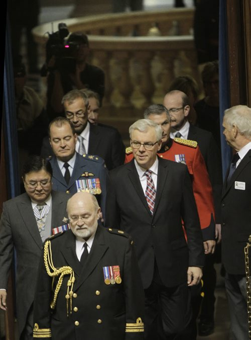 In centre, Manitoba Premier Greg Selinger at right and Lt.-Gov. Philip Lee enter the Manitoba Legislature Tuesday afternoon for the Speech from the Throne. Dan Lett/Bruce Owen/Larry Kusch  Wayne Glowacki / Winnipeg Free Press Nov. 12. 2013