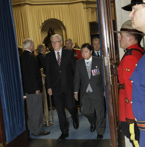 At left,  Manitoba Premier Greg Selinger and Lt.-Gov. Philip Lee leave the Manitoba Legislature Tuesday afternoon after the Speech from the Throne. Dan Lett/Bruce Owen/Larry Kusch  Wayne Glowacki / Winnipeg Free Press Nov. 12. 2013