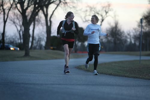 Tara Kenny (shorts) and her running partner Amy Campbell enjoy a late afternoon jog in Assiniboine Park  on a balmy  November afternoon Wednesday. November 13,,  2013 Ruth Bonneville / Winnipeg Free Press