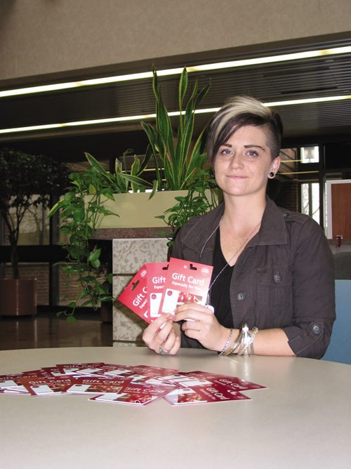 Canstar Community News Nov. 14, 2013 - Ashley Meilleur, of Headingley, is collecting donations of $10 grocery gift cards, money, warm clothing, sleeping bags, blankets and personal hygiene items to be distributed to homeless people in Winnipeg on Christmas Day. (ANDREA GEARY/CANSTAR COMMUNITY NEWS)