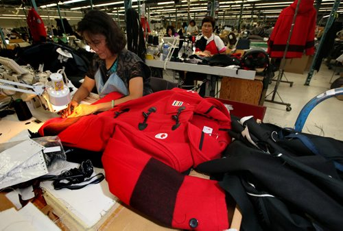 Coats for Olympic Athletes on the production floor of Freed and Freed Wednesday afternoon. See Sinclair Column. November 20, 2013 - (Phil Hossack / Winnipeg Free Press)