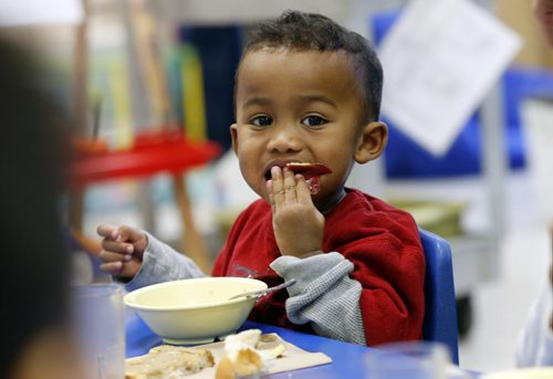 kids name is KIngston  age 3 (no lastname ) Life Front - Aleph-Bet Daycare, 1007 Sinclair Street.  STORY SUBJECT: Daycare nutrition programs and their mandate to follow Canada's Food Guide. PHOTO SUGGESTION:  kids eating nutritious foods during their lunch break. EDITOR NOTE FYI...This daycare (Aleph-Bet) is not connected to the fine and nutrition controversy.  REPORTER: Shamona Harnett.   Monday Life Front.  Nov. 22 2013 / KEN GIGLIOTTI / WINNIPEG FREE PRESS