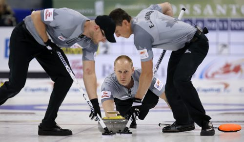 Skip Brad Jacobs shoots during action against John Morris's team in the men's final of Roar of the Rings curling at the MTS Centre on Sun., Dec. 8, 2013. Photo by Jason Halstead/Winnipeg Free Press