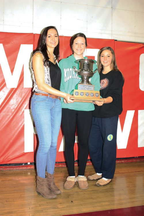 Canstar Community News Dec. 4/13 - Mennonite Brethren Collegiate Institute Hawks varsity girls' volleyball players Kalena Schulz, Shayna Staerk, and Maiya Westwood are shown with the fruits of victory after capturing the Boston Pizza AAAA Volleyball Championships on Dec. 2. (DAN FALLOON/CANSTAR COMMUNITY NEWS/HERALD)