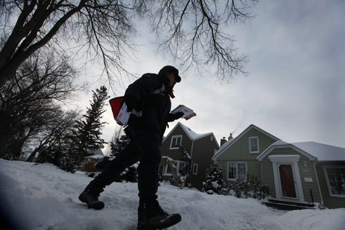 A letter carrier with Canada Post makes his way toward Grosvenor Ave. in River Heights later afternoon on Wednesday on the day the Canada Post announced the end of the era for home delivery mail service  See Storyl Dec 11, 2013 Ruth Bonneville / Winnipeg Free Press