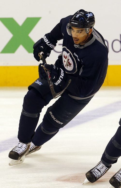 Injured Jet Evander Kane rejoined the team at practice and took alternate shifts with his line - Jets Practice  at MTS Centre in front of 1700 fans , school groups were bussed to the practice to watch the team-  Dec. 13 2013 / KEN GIGLIOTTI / WINNIPEG FREE PRESS