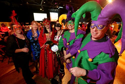 Margaret Kampff, Sandi Denman, Helena K., Marnie Anthony, Leta J., and Jeff P. at Mardi Gras at the Winnipeg Convention Centre, Saturday, February 15, 2014. (TREVOR HAGAN/WINNIPEG FREE PRESS)