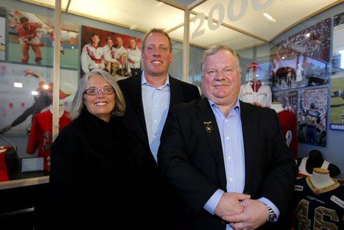 Inductees into MB Curling Hall of Fame. Chris Pidzarko (Scalena), Steve Gould, and exec Mitch Tarapasky. BORIS MINKEVICH / WINNIPEG FREE PRESS  Feb. 18, 2014