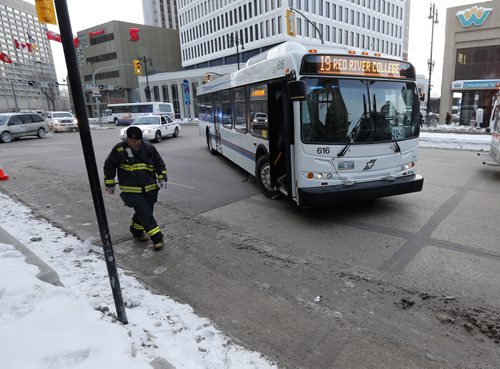 City of Wpg transit bus has  struck a pedestrian  on Potage Ave at Notre Dame Ave , the female pedestrian was transported to hospital , traffic  getting around the lane closure west bound is tied up on Portage Ave. Because of  emergency vehicles .  FEB. 20 2014 / KEN GIGLIOTTI / WINNIPEG FREE PRESS