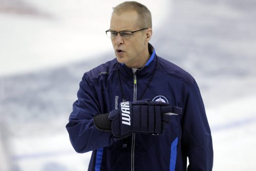 Winnipeg Jets Coach Paul Maurice in practice today. MTS Centre.  BORIS MINKEVICH / WINNIPEG FREE PRESS  Feb. 28/14