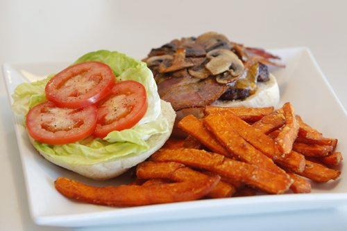 Marion Street Eatery. Burger and yam fries. BORIS MINKEVICH / WINNIPEG FREE PRESS  March 28, 2014