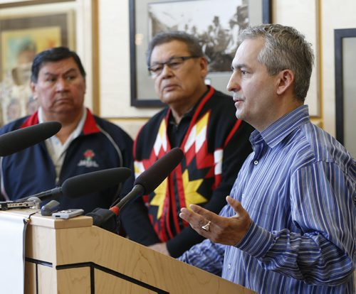 LOCAL – RtoL  Chief Donovan Fontaine Of Sagkeeng  First Nation , with Chief Jim Bear of Brokenhead First Nation and Garry Houle aboriginal hockey organizer and former referee .RE:   hockey violence Southeast Tribal Council is holding a press conference April 8th,  to address violence in hockey. We would like to see more sportsmanship in our national pastime. All nationalities are now involved in the game and we want tolerance and goodwill to be practised by the players and by the spectators. Event will be held at the Manitoba Indigenous Cultural Centre,  April 8 2014 / KEN GIGLIOTTI / WINNIPEG FREE PRESS