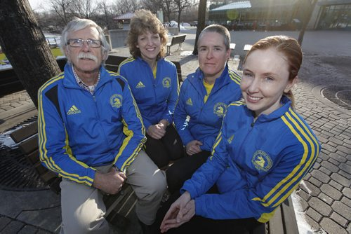 April 15, 2014 - 140515  -  Boston Marathon runners (L to R) Sean Drain, Cathey Gornik, Julie Whelen and Mairead Drain for a Lawless story. Photographed Tuesday, April 15, 2014. John Woods / Winnipeg Free Press