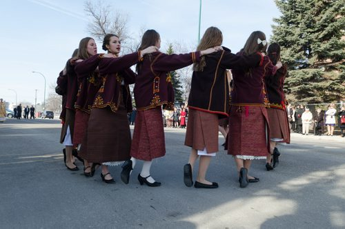 Ukrainian dancers perform outside of the Sts. Vladimir & Olga Metropolitan Cathedral on Easter Sunday.  The dancers are part of the Plast dance group and the Ukrainian Youth Association.  EMILY CUMMING / WINNIPEG FREE PRESS APRIL 20, 2014