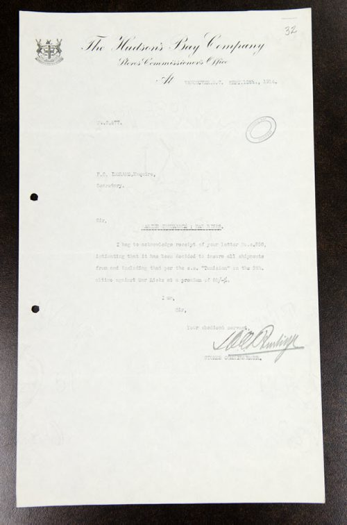 World War One document about shipping insurance from the Archives of Manitoba.  Marine insurance and war insurance, Correspondence with Store Commissioners, Hudson's Bay Company Archives, Archives of Manitoba, A.12/S 520/1  EMILY CUMMING / WINNIPEG FREE PRESS  (2 of 2)
