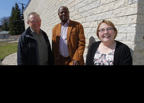 FAITH PAGE - Rev. Larry Ulrich, Bishop Ruben Ngozo of Cameroon, Bishop Elaine Sauer, Synodical bishop. Lutheran bishop from Cameroon visits sister synod in Winnipeg. Location: Anglican Lutheran Centre, 935 Nesbitt Bay in Fort Garry. BORIS MINKEVICH / WINNIPEG FREE PRESS April 29, 2014