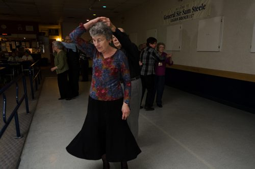 Aurore Sauka is spun by her dancing partner Ed at the General Sir Sam Steele Legion on a Wednesday afternoon.  The legion puts on a weekly luncheon and dance.  EMILY CUMMING / WINNIPEG FREE PRESS