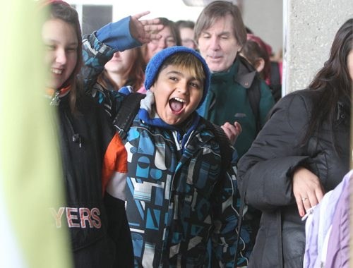 NEXT STAR AUDITIONS — Hundreds of kids show their excitement as they are escorted into the doors of the RBC Convention Centre Saturday to audition in the Next Star Auditons competition after waiting in  ilineups  outside for hours in unseasonal temperatures.   May 03, 2014 Ruth Bonneville / Winnipeg Free Pres