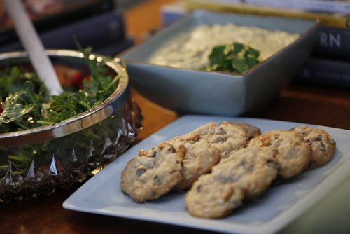 May 12, 2014 - 140512  - Food Front - Strawberry And Arugula Salad With Balsamic Vinaigrette,  Almond And Olive Hummus, Chocolate Pretzel Cookies. - Monday, May 12, 2014.  John Woods / Winnipeg Free Press