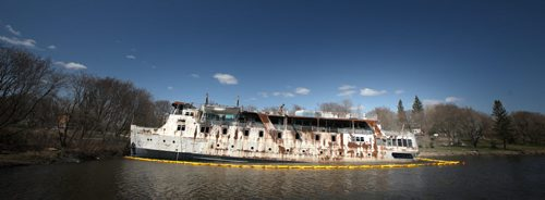 The MS Lord Selkirk sits listing and leaking into the Selkirk Slough. See Alex Paul story re salvage/demolition of the hazardous hulk. May 16, 2014 - (Phil Hossack / Winnipeg Free Press)