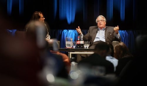 Howard Buffet gestures while taking questions from the after lunch crowd at the Convention Center Tuesday. See Martin  Cash story.  June 24, 2014 - (Phil Hossack / Winnipeg Free Press)