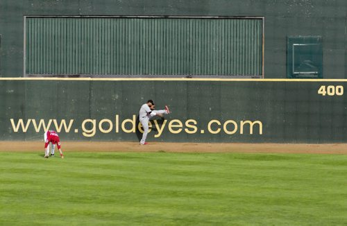 Players warm up for tonight's Goldeyes vs. Fargo-Moorhead Redhawks game at Shaw Park. Sarah Taylor / Winnipeg Free Press