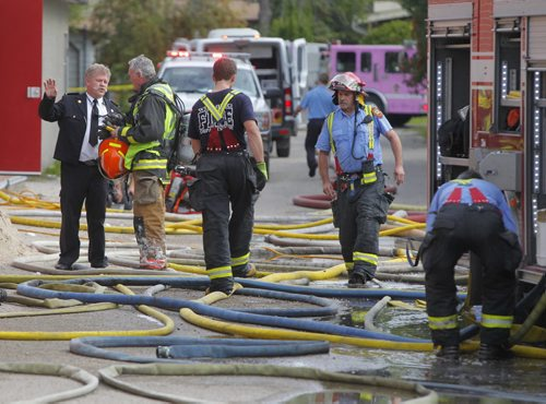 City of Winnipeg Margaret Grant Pool fire scene. BORIS MINKEVICH / WINNIPEG FREE PRESS  Sept. 16, 2014
