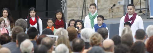 Maria Aragon with microphone performs during the Canadian Museum for Human Rights official opening ceremonies Friday. Mary Agnes Welch story.¤Wayne Glowacki/Winnipeg Free Press Sept.19 2014