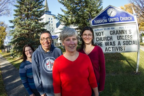 Rev. Teresa Moysey (third from left) along with others from Harrow United Church: (l-r) Kerry Craig, Gary Maddonick and Erica Young. 141014 - Tuesday, October 14, 2014 -  (MIKE DEAL / WINNIPEG FREE PRESS)