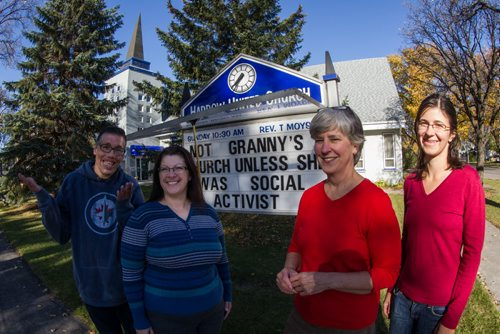 Rev. Teresa Moysey (third from left) along with others from Harrow United Church: (l-r) Gary Maddonick, Kerry Craig, and Erica Young. 141014 - Tuesday, October 14, 2014 -  (MIKE DEAL / WINNIPEG FREE PRESS)