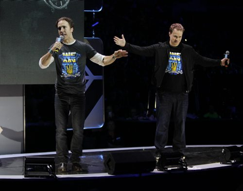 Craig at left and Marc Kielburger near the end of the WE Day event in the MTS Centre Wednesday. Nick Martin¤ story. Wayne Glowacki/Winnipeg Free Press Oct.29 ¤ 2014