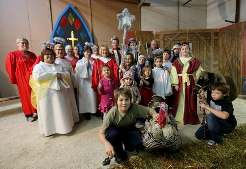Headingly United Church rehearses for their nativity play with real animals in John Van Massenhoven's machine shed, Sunday, November 23, 2014. (TREVOR HAGAN/WINNIPEG FREE PRESS) - for Brenda Suderman faith page